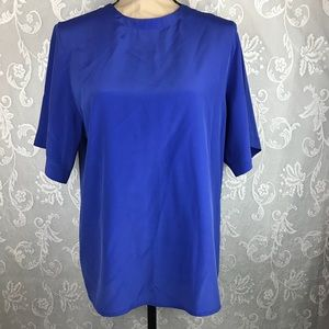 Argenti blouses womens Size 8 Short Sleeve Blue